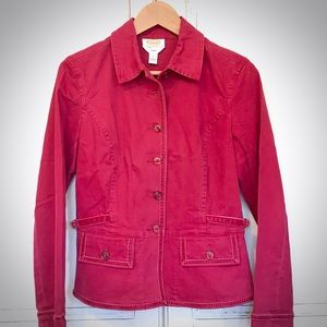 EUC. TALBOTS red twill jacket with velvet accents